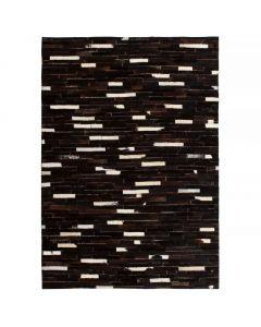 Tapis cuir véritable patchwork Cowgirl 80x150cm Noir et Blanc