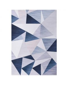 Tapis imprimé graphique Kaleid 80x150cm Tissu Bleu et parme