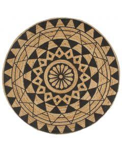 Tapis jute Ashanti avec imprimé Noir D90cm