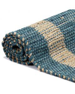 Tapis jute et coton Togo Bleu et Beige 80x160cm