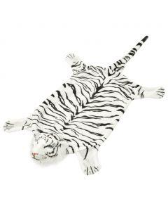 Tapis peluche Savana en forme de tigre blanc 144cm