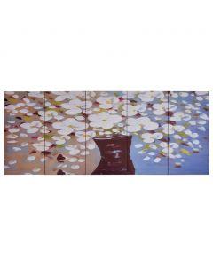 Toile polyptyque Everything 150x60cm Multicolore Motif Fleurs en vase