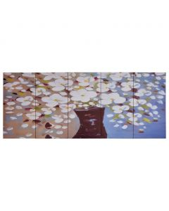 Toile polyptyque Everything 200x80cm Multicolore Motif Fleurs en vase