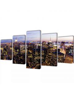 Toile polyptyque Everywhere 100x50cm Multicolore Motif Horizon de New York vu du ciel