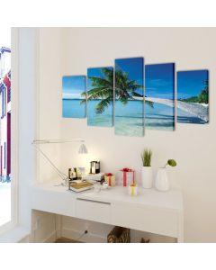 Toile polyptyque Everywhere 100x50cm Multicolore Motif Plage avec palmier