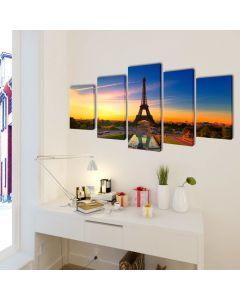 Toile polyptyque Everywhere 100x50cm Multicolore Motif Tour Eiffel