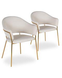 Lot de 2 chaises / fauteuils Ulrick Tissu Beige