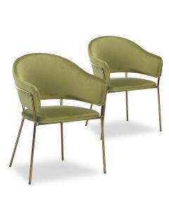 Lot de 2 chaises/fauteuils Ulrick Velours Kaki