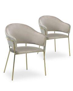 Lot de 2 chaises/fauteuils Ulrick Velours Taupe