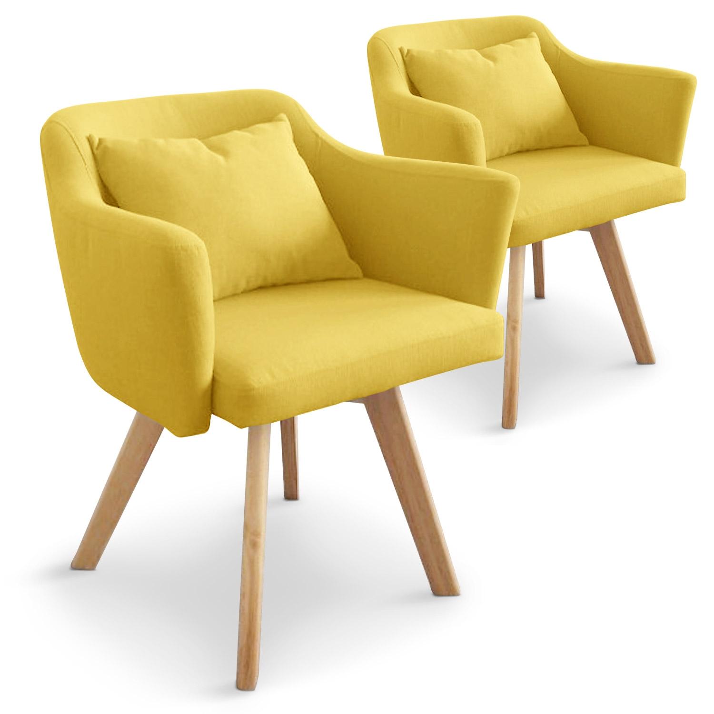 Lot de 2 fauteuils scandinaves Dantes Tissu Jaune
