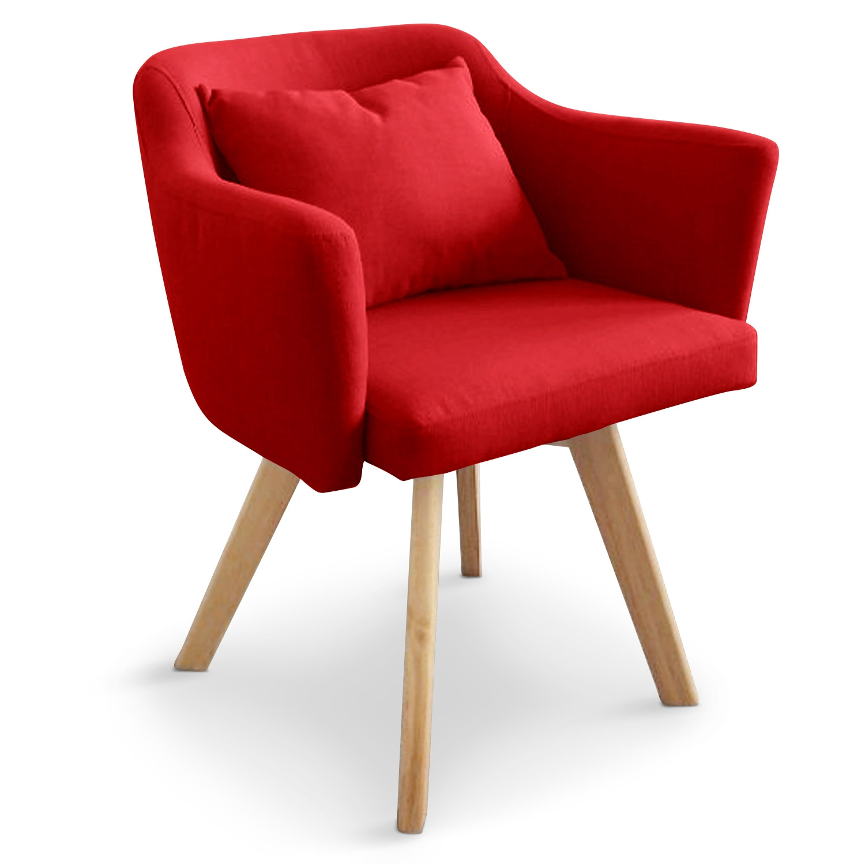 Chaise / Fauteuil scandinave Dantes Tissu Rouge