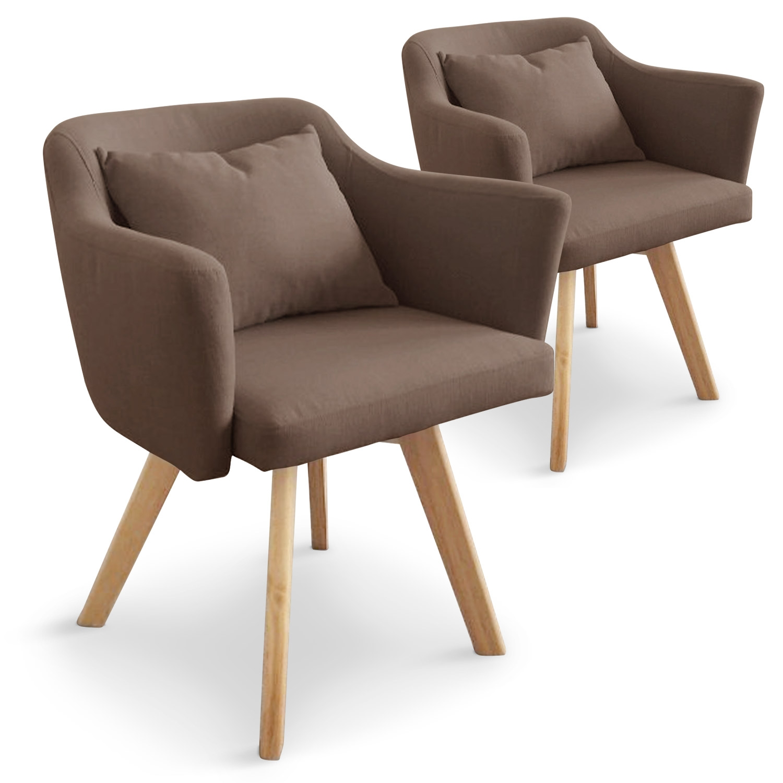 Lot de 2 fauteuils scandinaves Dantes Tissu Taupe