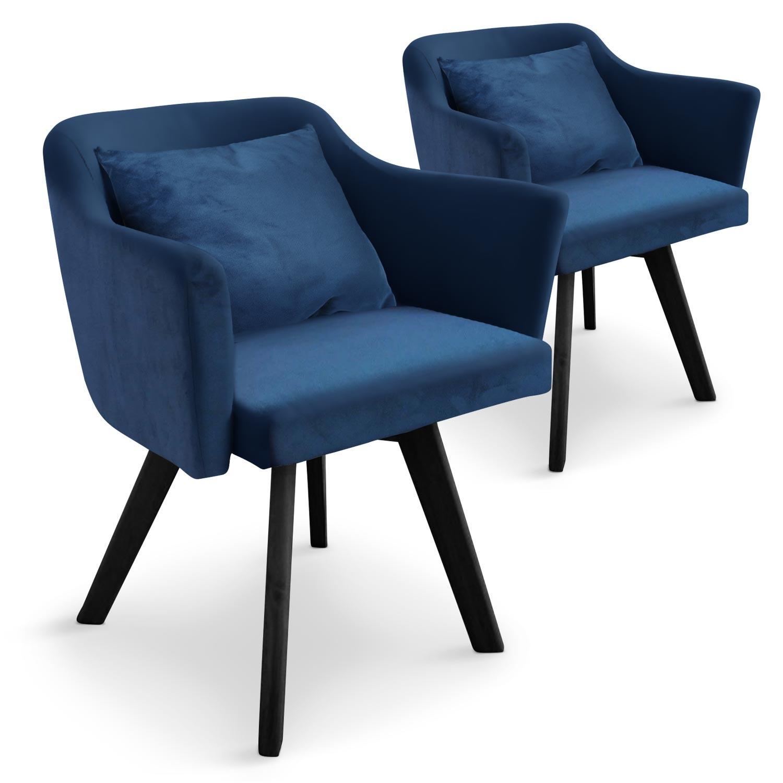 Lot de 2 fauteuils scandinaves Dantes Velours Bleu