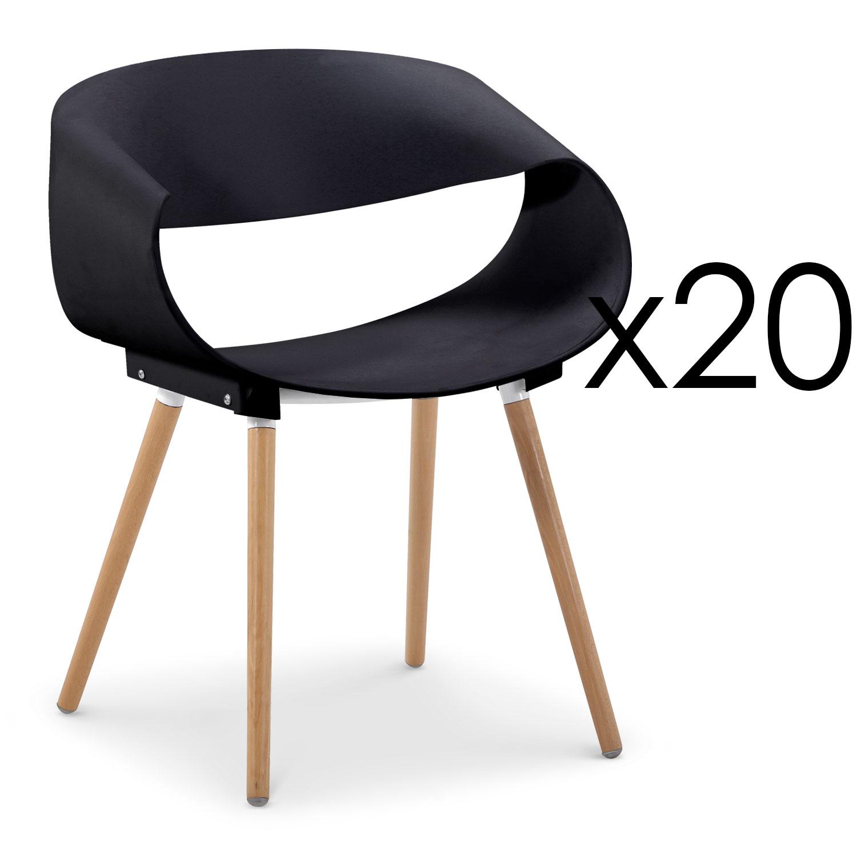 Lot de 20 chaises scandinaves design Zenata Noir