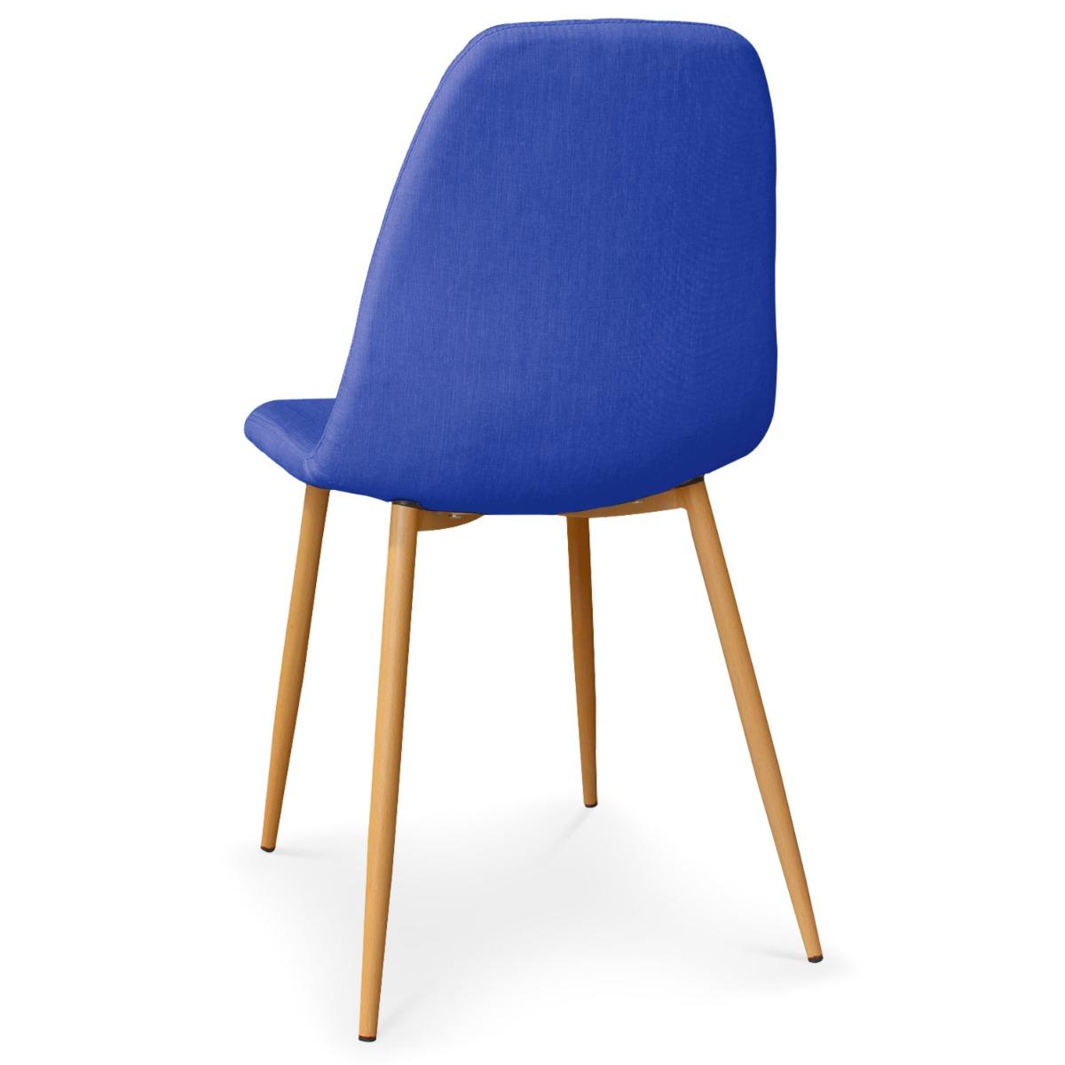Lot de 4 chaises scandinaves Gao Tissu Bleu