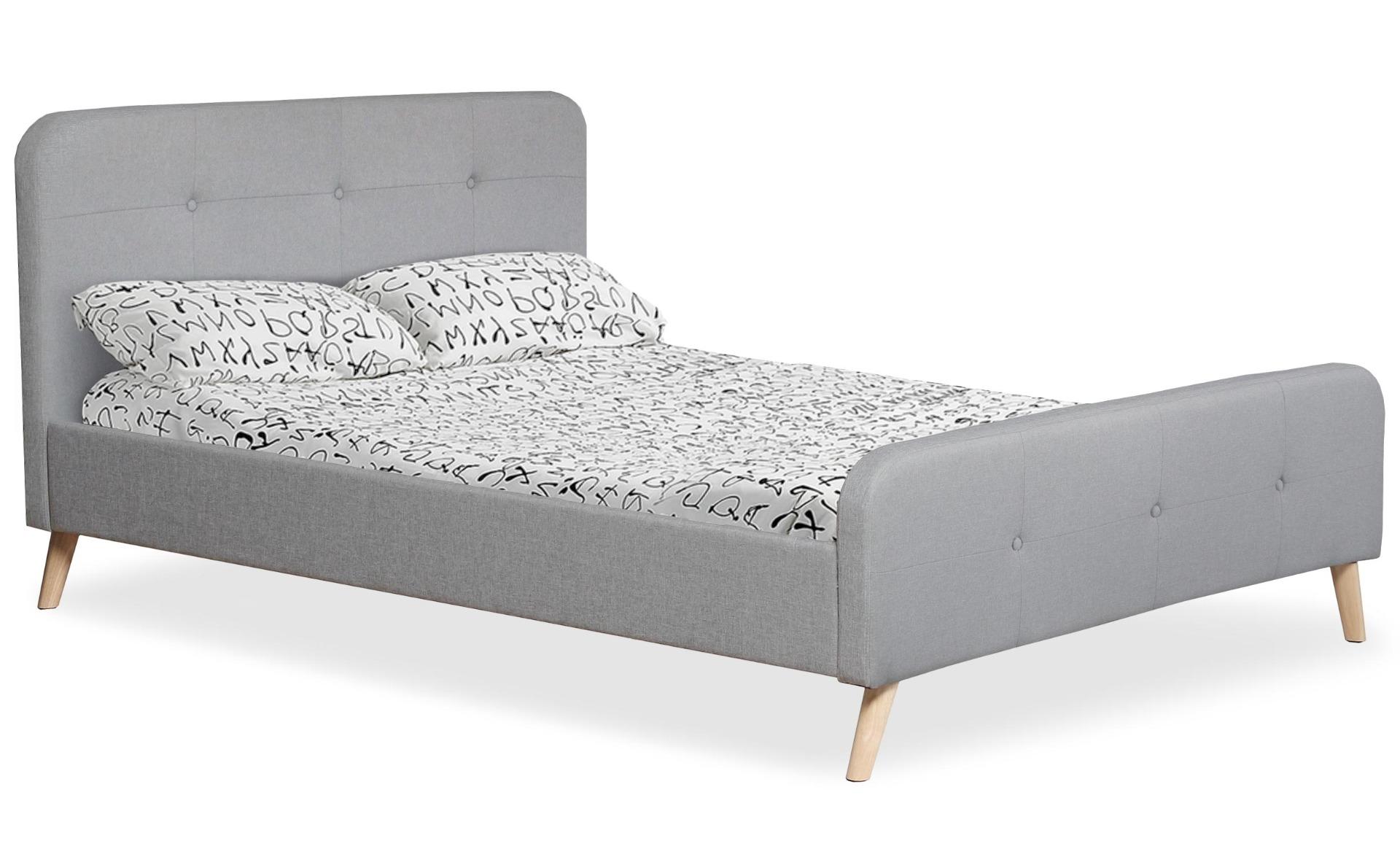 Lit scandinave avec tête de lit et sommier 140 x 190cm Delano Tissu Gris