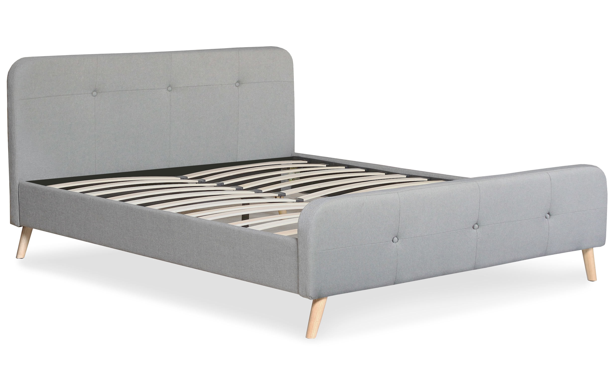 Lit scandinave avec tête de lit et sommier 160x200cm Delano Tissu Gris