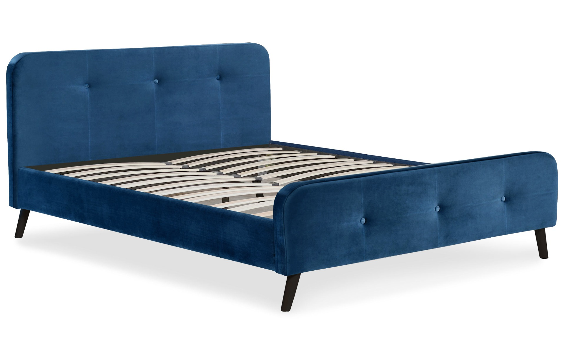 Lit scandinave avec tête de lit et sommier 160x200cm Delano Velours Bleu