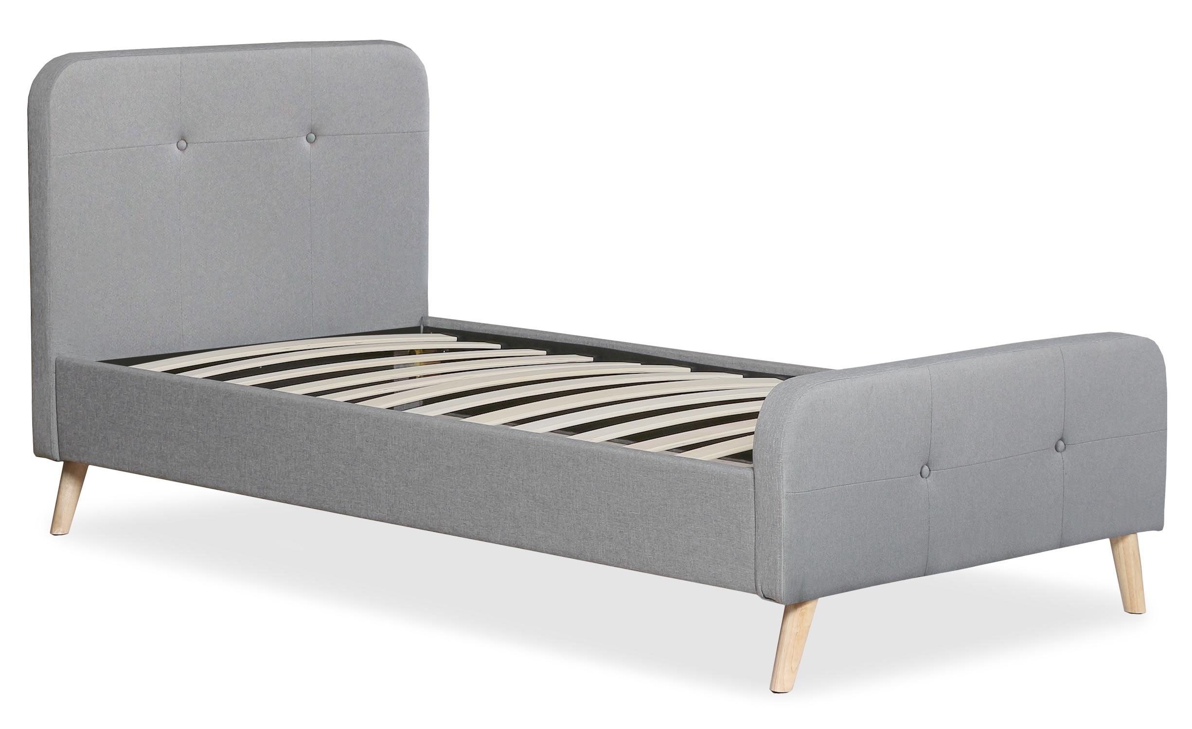 Lit scandinave avec tête de lit et sommier 90x190cm Delano Tissu Gris
