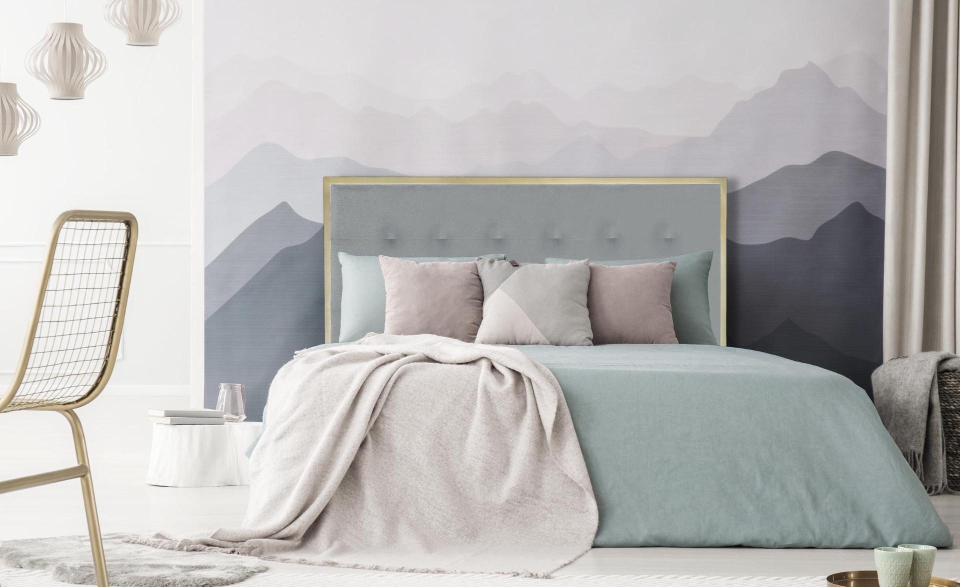 Tête de lit Donna 160 cm Métal Or et Tissu Gris Clair