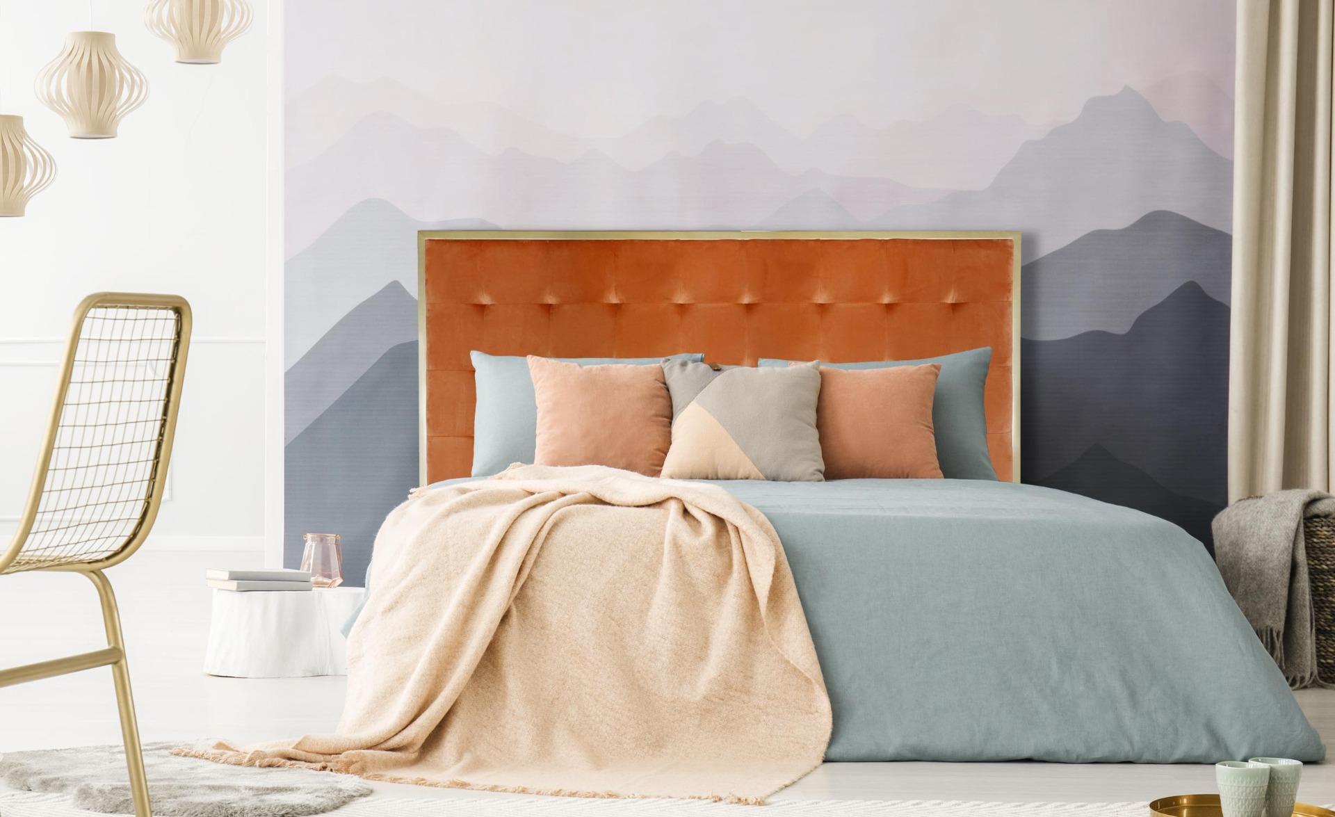 Tête de lit Donna 180 cm Métal Or et Velours Terracotta