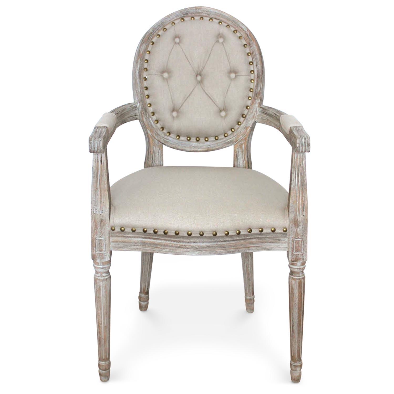 Lot de 2 chaises médaillon Louis XVI Dynasty Tissu Beige clouté