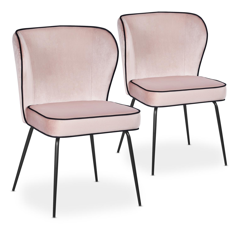Lot de 2 chaises Elsa Velours Rose