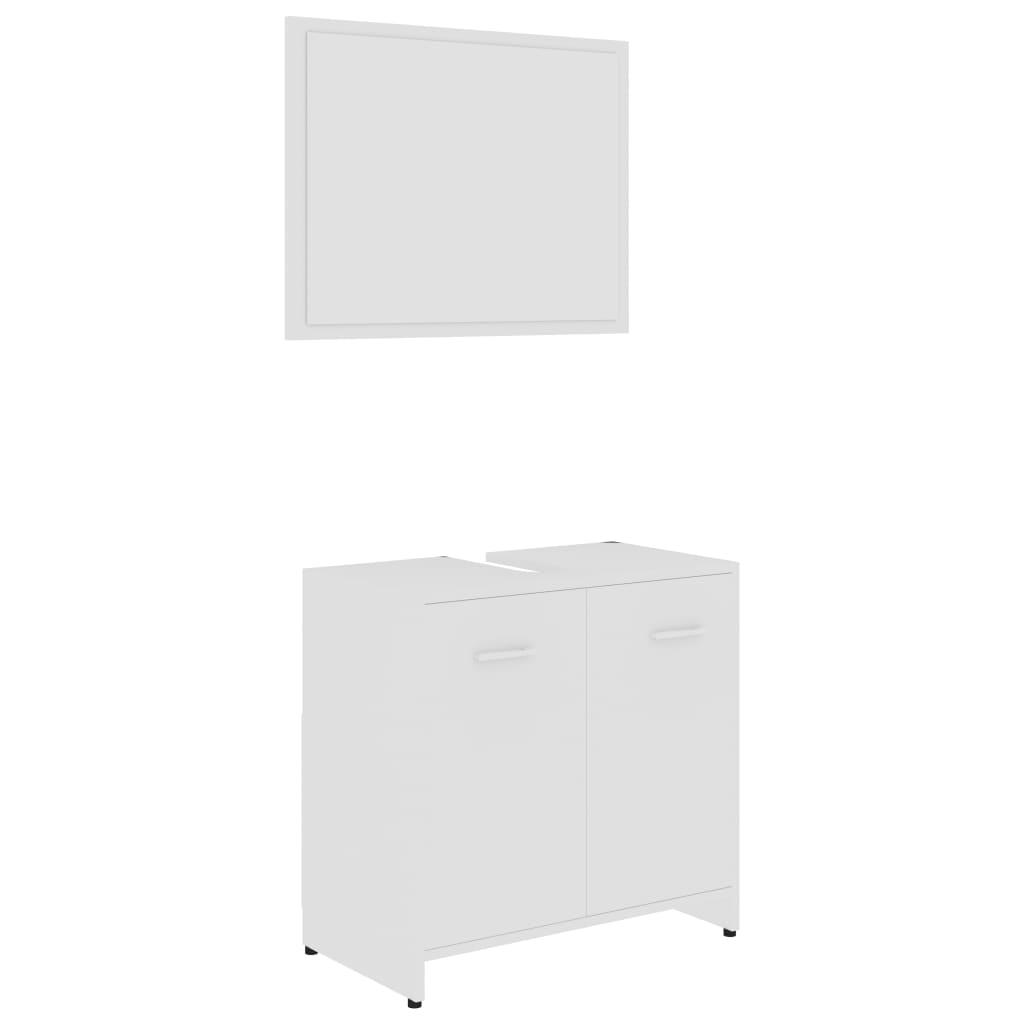 Ensemble armoire d'évier 60x60cm + 1 miroir 60x45cm Bois Blanc