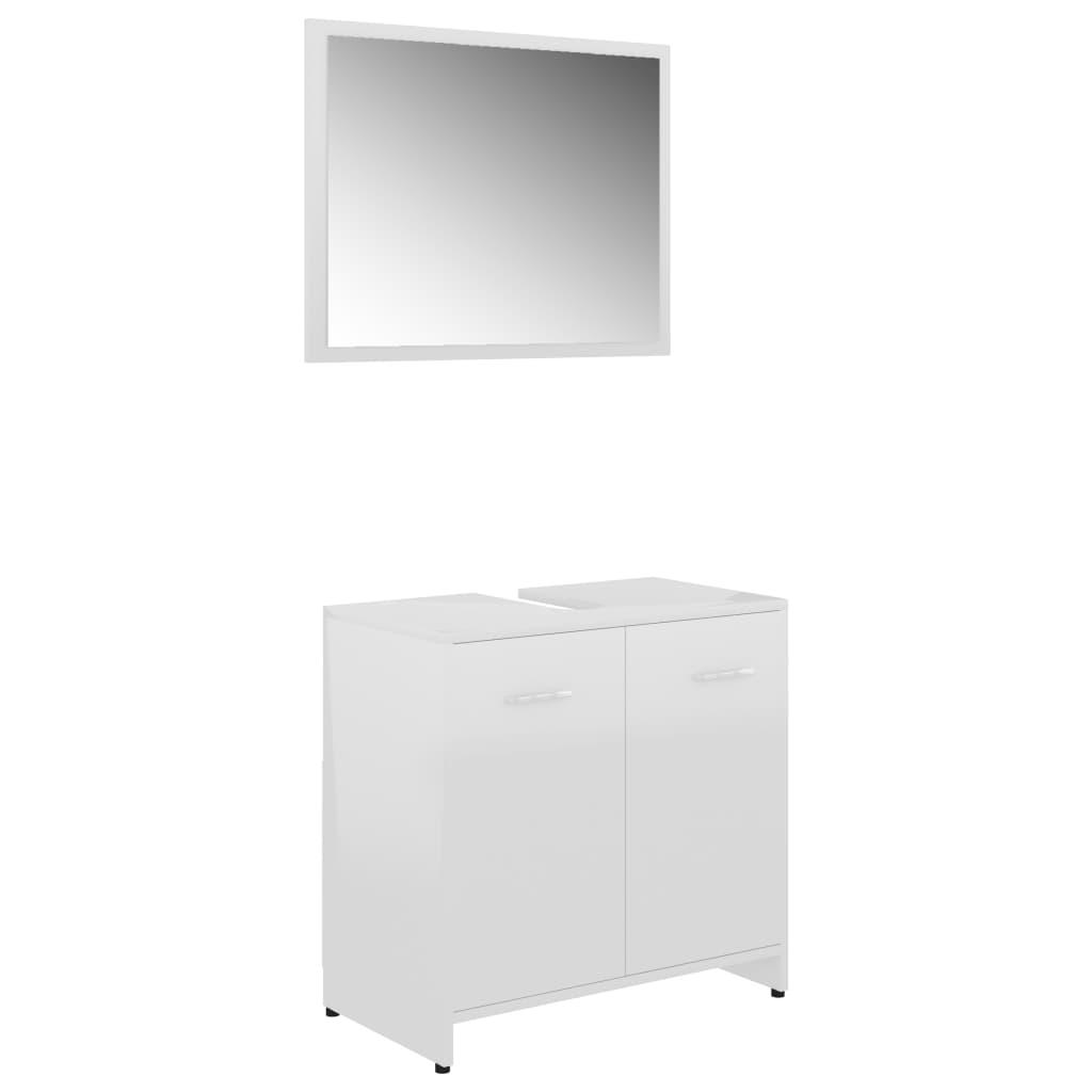 Ensemble armoire d'évier 60x60cm + 1 miroir 60x45cm Cléo Bois Blanc Brillant