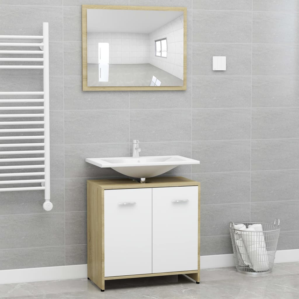 Ensemble armoire d'évier 60x60cm + 1 miroir 60x45cm Cléo Bois Blanc et Chêne