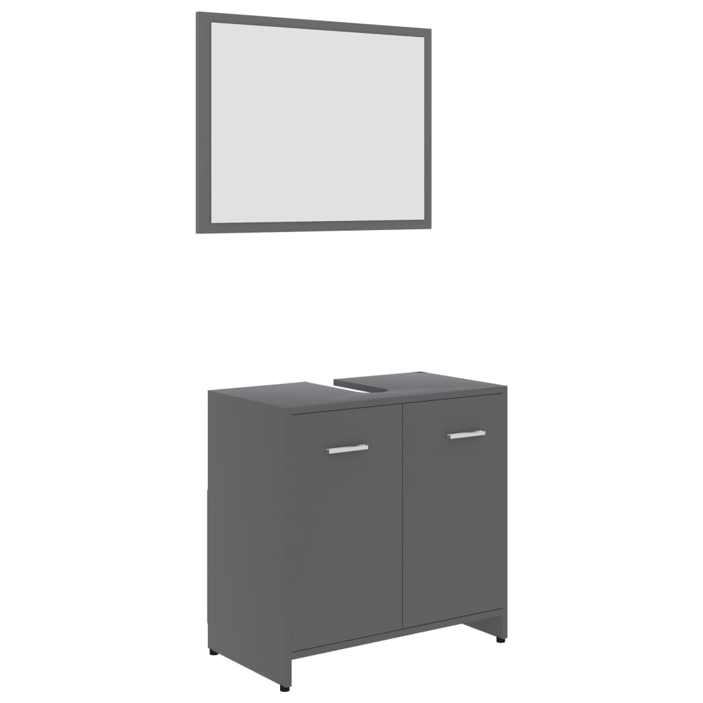 Ensemble armoire d'évier 60x60cm + 1 miroir 60x45cm Cléo Bois Blanc Gris