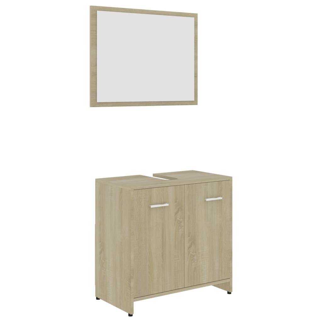 Ensemble armoire d'évier 60x60cm + 1 miroir 60x45cm Cléo Bois Chêne