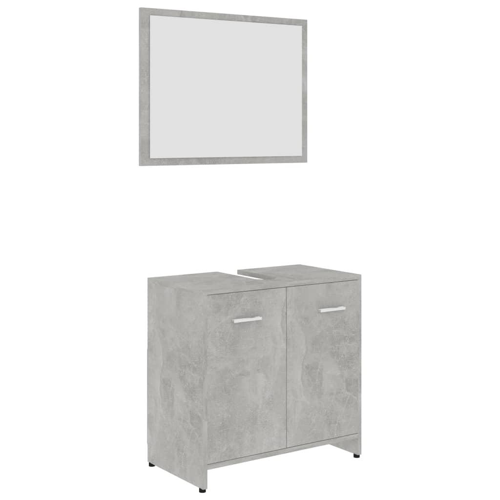 Ensemble armoire d'évier 60x60cm + 1 miroir 60x45cm Cléo Bois Gris Béton