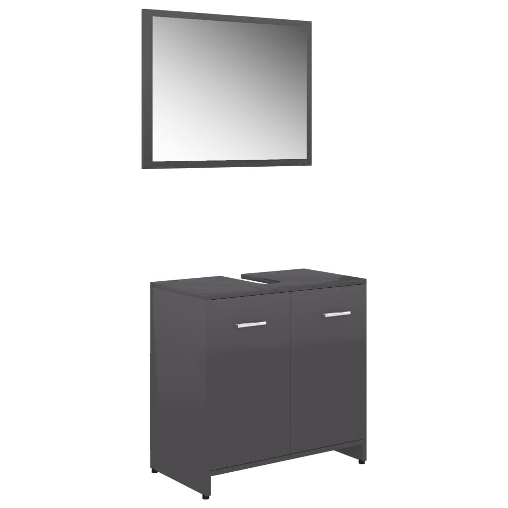 Ensemble armoire d'évier 60x60cm + 1 miroir 60x45cm Cléo Bois Gris Brillant