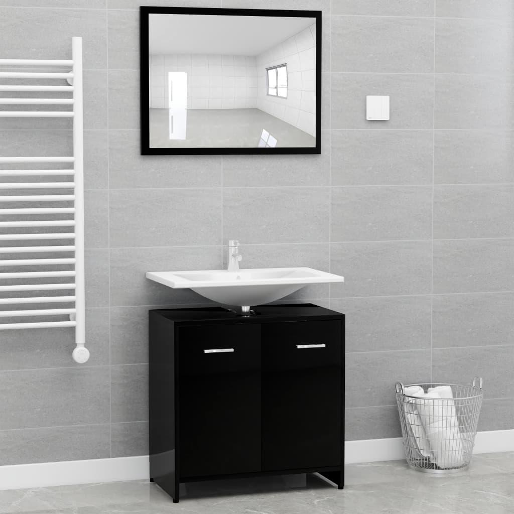 Ensemble armoire d'évier 60x60cm + 1 miroir 60x45cm Cléo Bois Noir Brillant