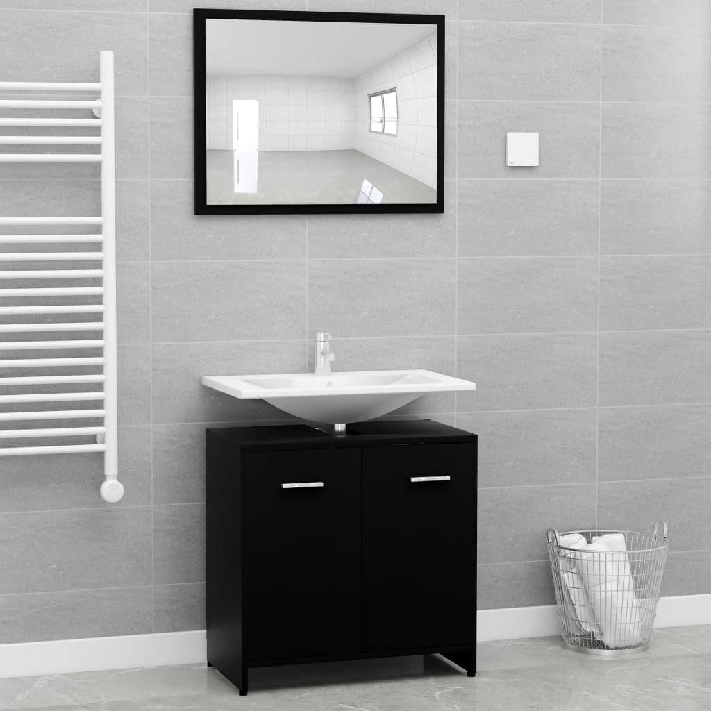 Ensemble armoire d'évier 60x60cm + 1 miroir 60x45cm Cléo Bois Noir