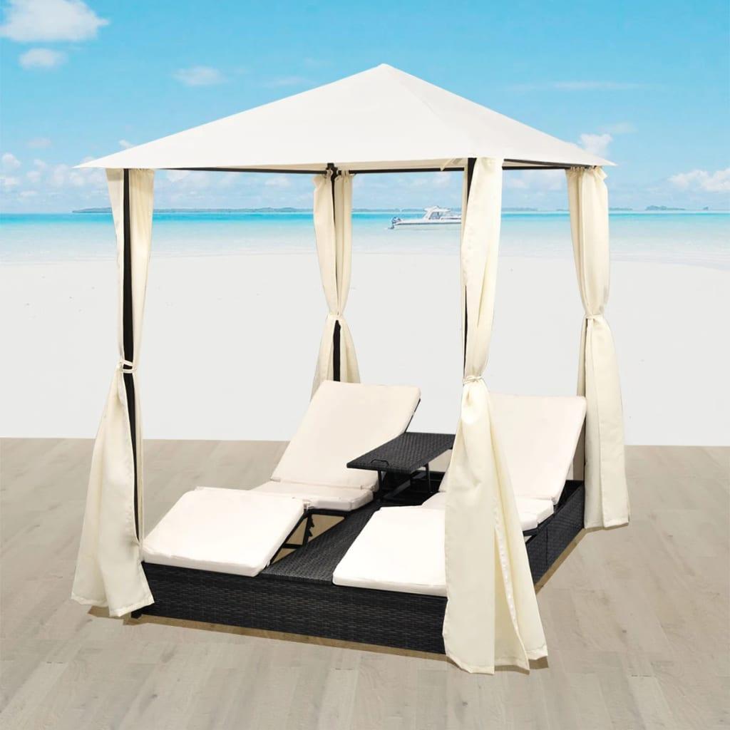 Ensemble table + 2 bains de soleil avec rideaux Fujara Résine tressée Noir