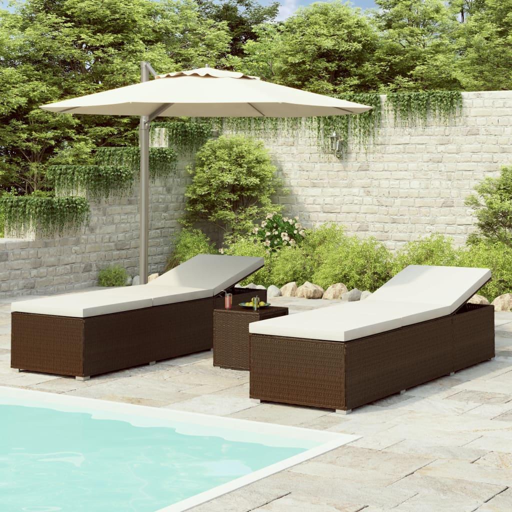 Ensemble table + 2 bains de soleil Endongo Résine tressée Marron