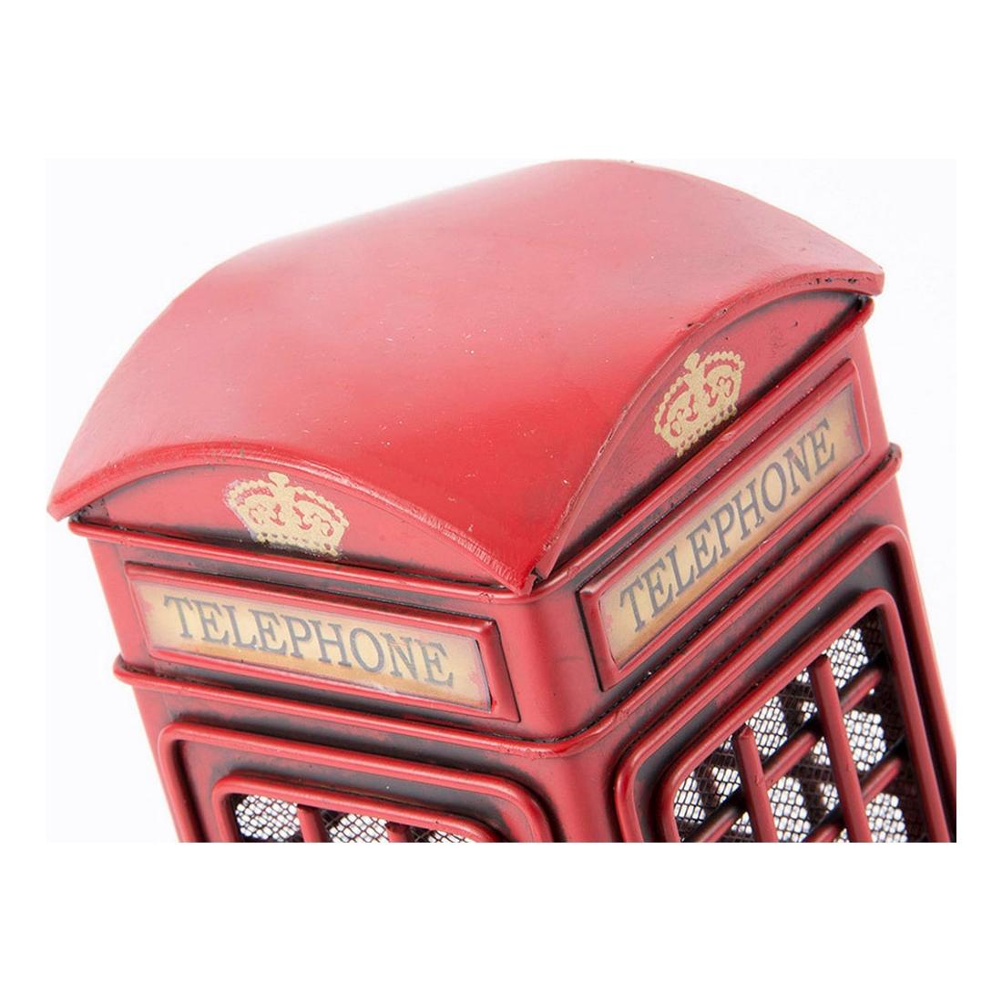 Figurine Cabine téléphonique 10x17cm Métal Rouge