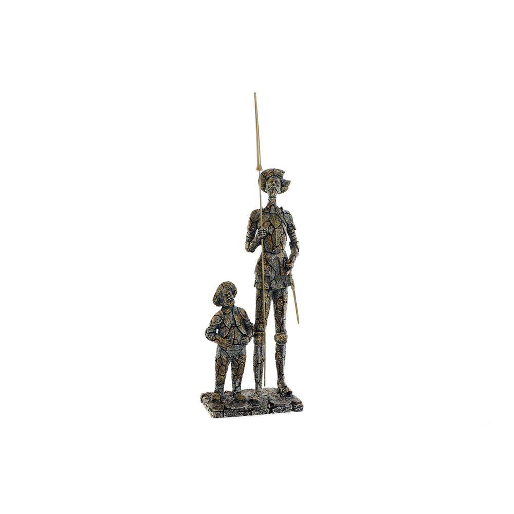 Figurine Don Quichotte 17x45cm Résine Beige et Gris