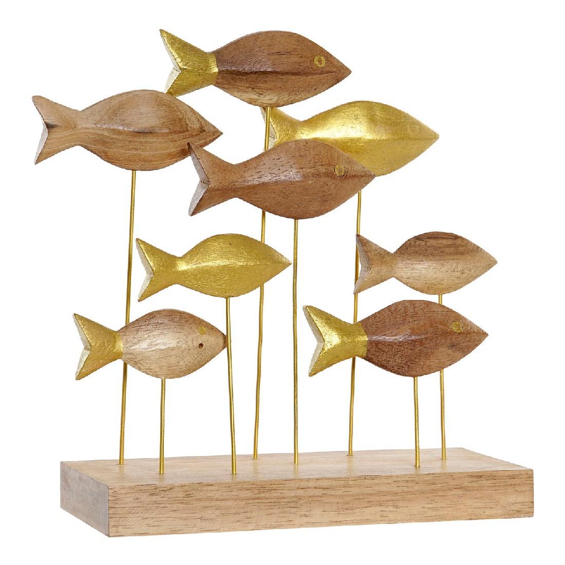 Figurine Pesce Bois Naturel et Or