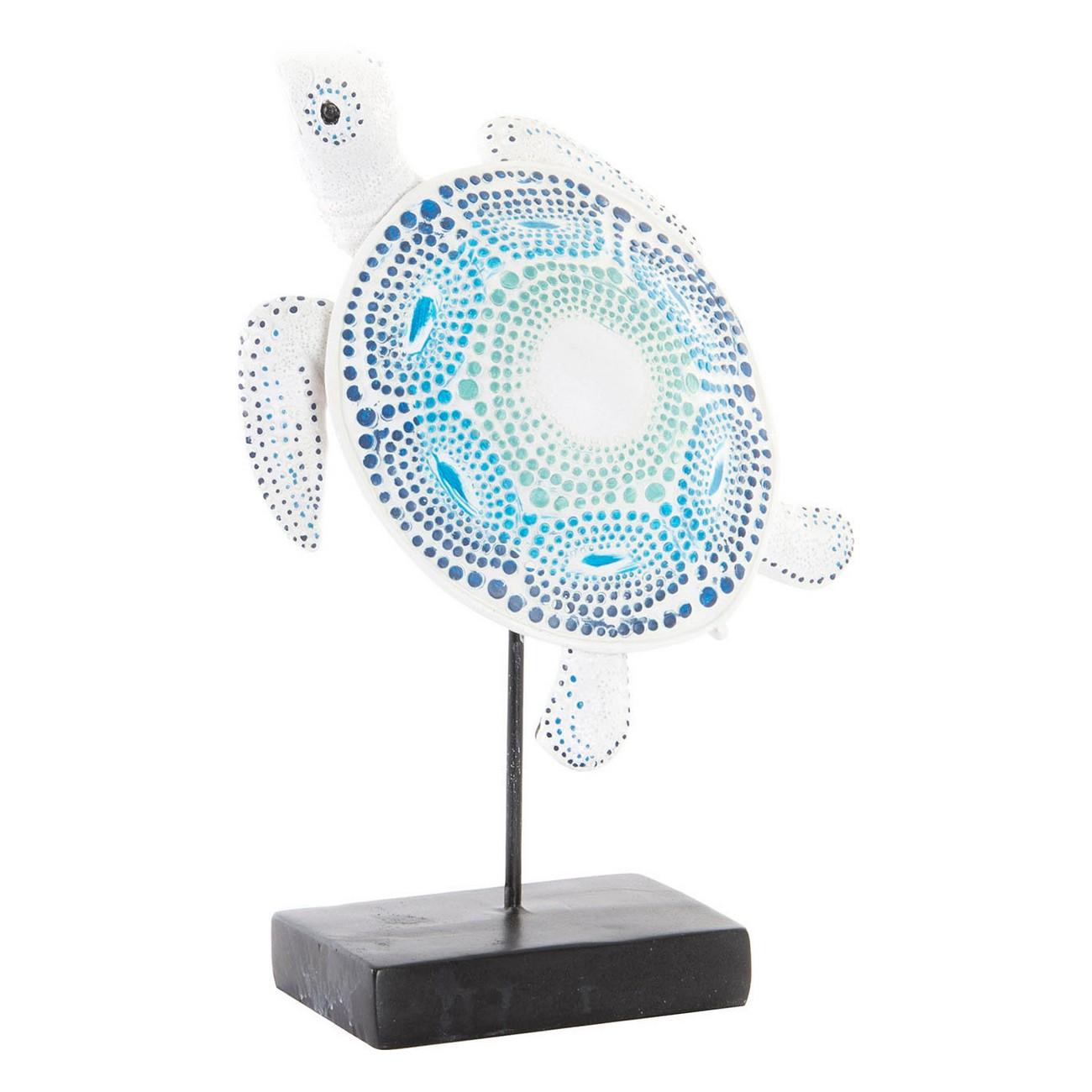 Figurine Tortue 20x30cm Résine et Métal bleu et Blanc