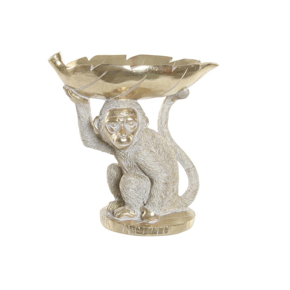 Figurine vide-poche macaque 23,5cm Résine Blanc et Or