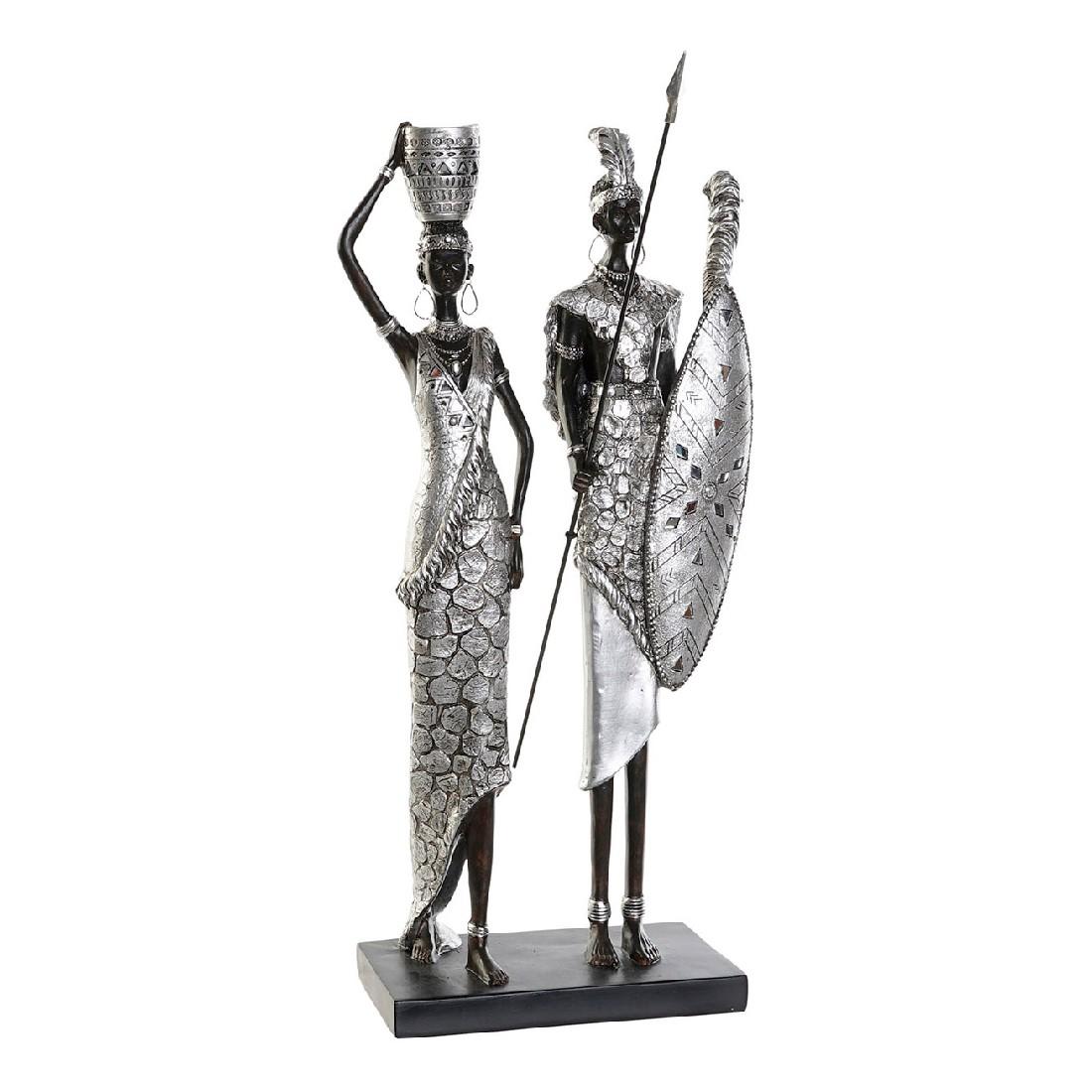 Figurine Zoulou 21x47cm Résine Noir et Argent
