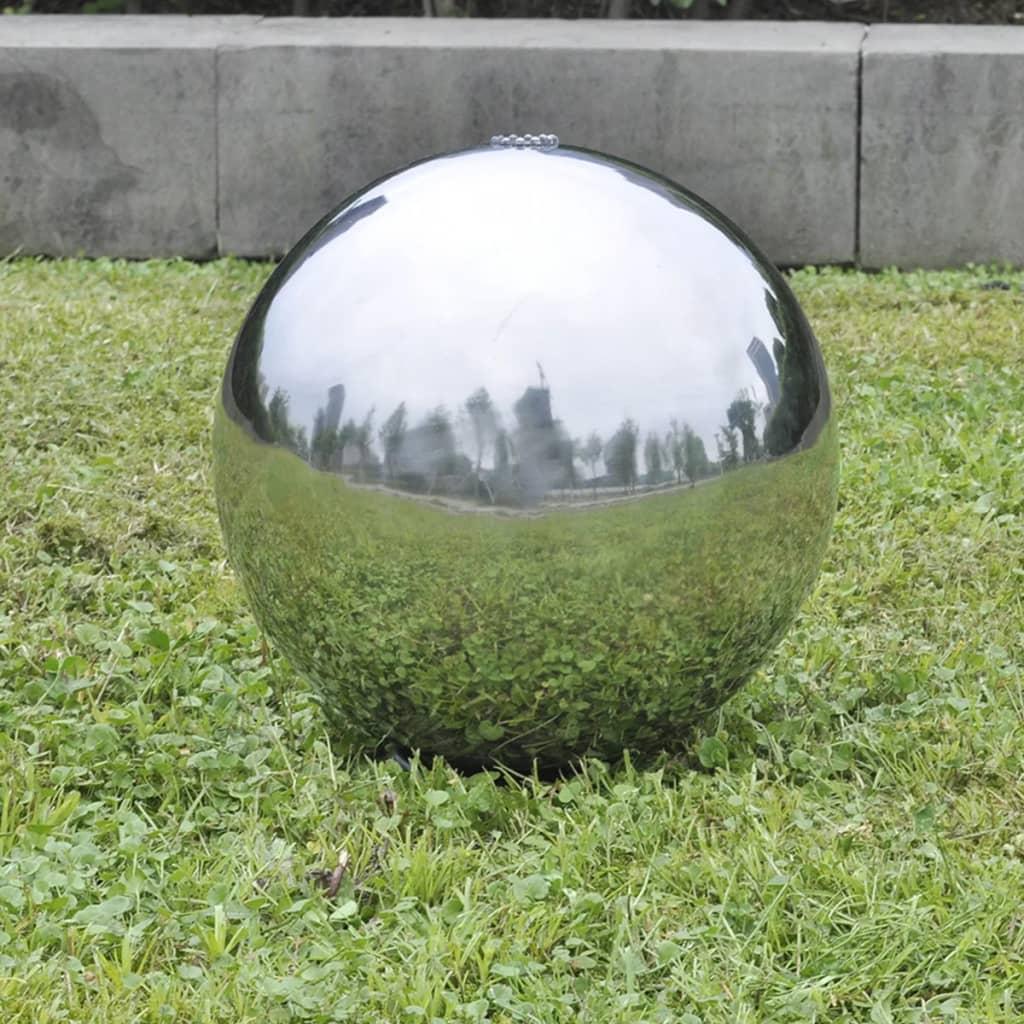 Fontaine de jardin Altaïr D30cm Acier inoxydable Argent avec LED