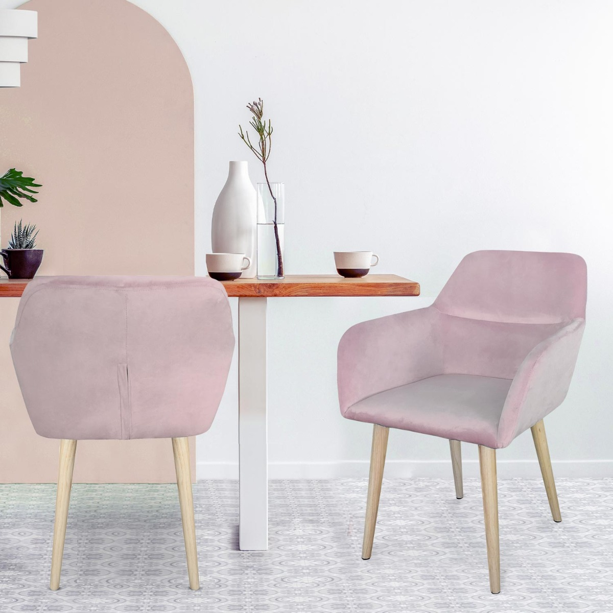 Chaise / Fauteuil scandinave Fraydo Velours Rose