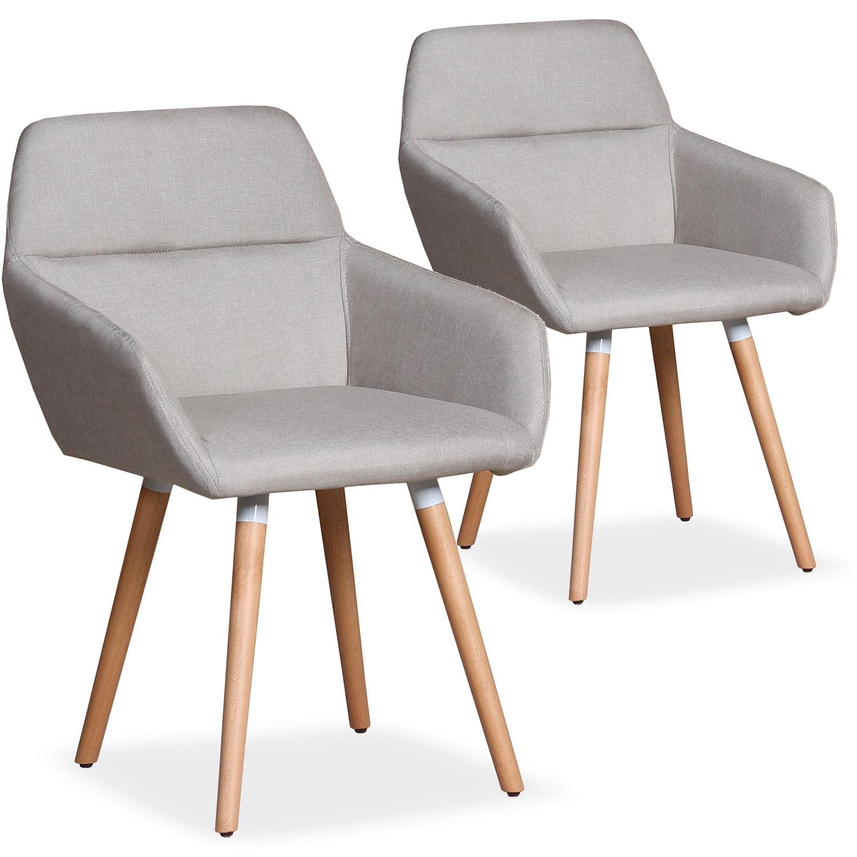 Lot de 2 chaises / Fauteuils scandinaves Frida Tissu Beige