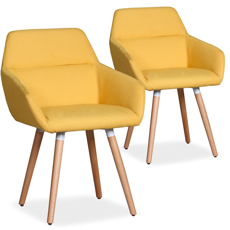 Lot de 2 chaises / Fauteuils scandinaves Frida Tissu Jaune
