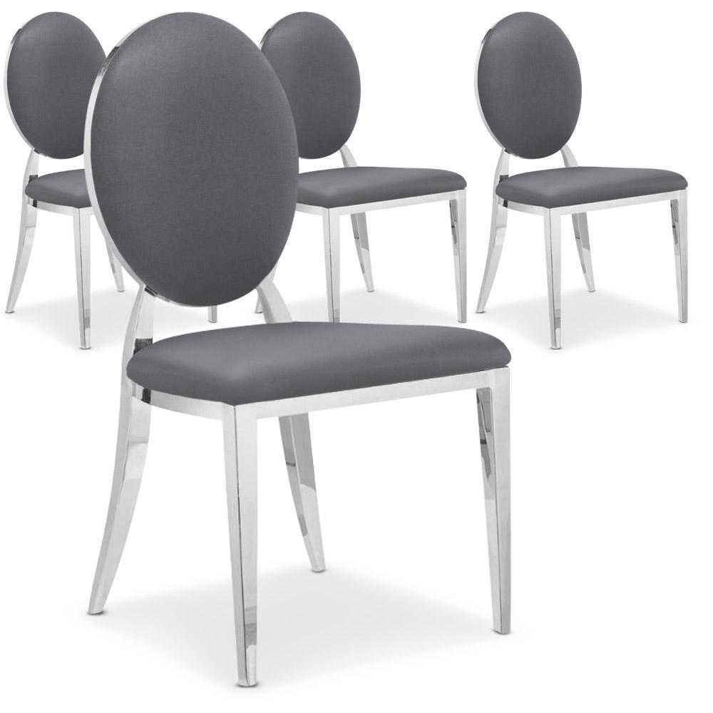 La chaise Sofia grise, avec son dossier oval rembourré et ses pieds en métal brillant