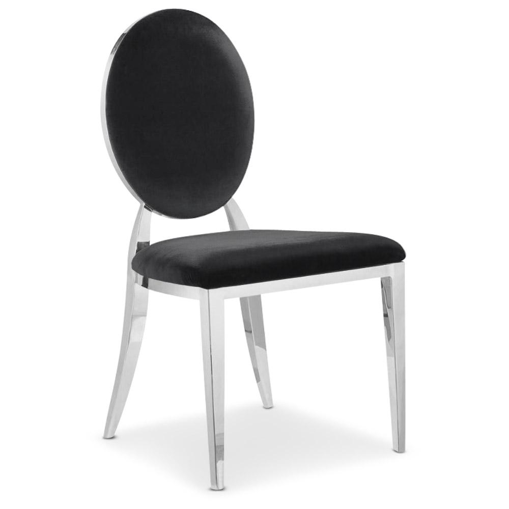 Lot de 4 chaises médaillon Sofia velours Noir